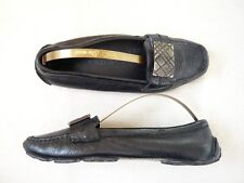 Burberry black leather slip on penny loafer shoes moccasins Leather lined UK 3.5