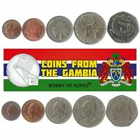 5 COINS FROM GAMBIA. 1971-2016. 1 BUTUT - 1 DALASI. AFRICAN MONEY