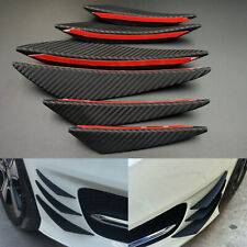 6pcs Car Front Bumper Lip Splitter Canards Carbon Fiber Spoiler Fins Refit Black
