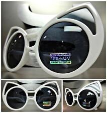 UNIQUE VINTAGE EXAGGERATED CAT EYE Style SUN GLASSES Huge White Frame Dark Lens
