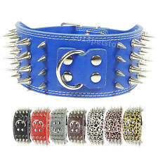 """Neck 16-24"""" dog collar large Necklace Studded Leather pet big Spiked new Spikes"""