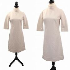 VTG 1960s 60s Mod Cream Off-White Textured Knit Mock Neck Shift Dress Wedding