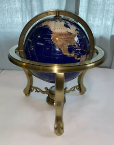 Large Blue MOTHER OF PEARL GEMSTONE INLAID WORLD ROTATING GLOBE  W/ COMPASS