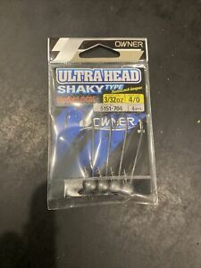 OWNER Ultra Heads Shaky Head Type 5151-704 Size 4/0 Hooks 3/32 oz Weight 4 pack