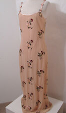 SUE WONG Vintage Nylon Net Peach Rose Embroidered Spaghetti Strap Dress S