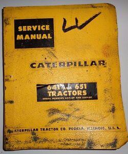 Caterpillar 641 651 Tractor & Scraper Service Repair Shop Manual s/n64F1/33G1&up