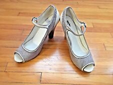 Mossimo Gray & Cream Peep Toe Ankle Strap High Heels - Size 10