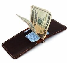 Men's Natural Leather Magnetic Card Case Wallet 4 Slots 2 Slip Pockets Compact