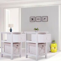 Wooden Nightstand with Drawer & Wicker Basket End Beside Table for Bedroom White