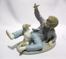 NAO by LLADRO SPAIN FIGURINE  BOY AND DOG SIT UP