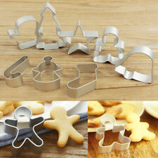 8Pcs Christmas Cookie Cutters Cake Metal Alloy Biscuit Pastry Decor Xmas Mould