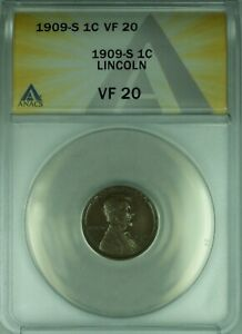 1909-S Lincoln Wheat Cent 1c ANACS VF-20  (10A)