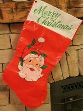 Vintage Rennoc Santa Christmas Stocking Vinyl Plastic Hong Kong 31in