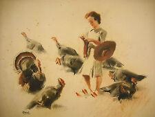 Gouache d'Albert Brenet Femme à la chausette & dindons Woman sock & turkeys 62cm