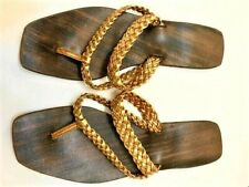 Vintage early 1960s Hippie Boho Gold Braid Sandals Resin Rubber Sole Narrow