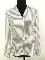 Forever New Women's size 8 Blouse Black and White Stripe Button Up Collar
