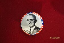 """For President Harry S Truman 1968 Kleenex Reproduction Button 1 1/8"""""""