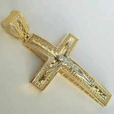 "Big 14K Yellow white Gold diamond cut  Jesus Crucifix Cross Pendent  2.5"" long"