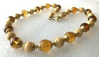 Vintage Yellow & Creamy Lucite Gold Tone Cup Bead Necklace 23""