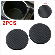 2Pcs Carbon Fiber Look Universal Car Dashboard Water Cup Slot Non-Slip Mat Round