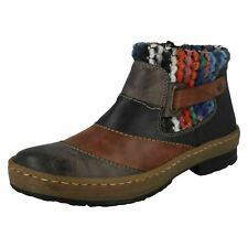 Ladies Rieker Warm Lined Multi Brown Zip Up Ankle Boots : Z6782