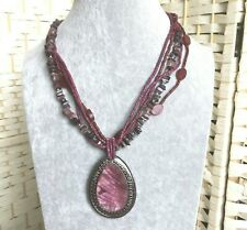 Plastic Heavy Large Pendant Necklace Dyed Purple Chunky 5 Strand Glass Wood