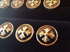 Black Enamel Gothic Cross Gold Buttons Medieval Cotehardie SCA Set of 8