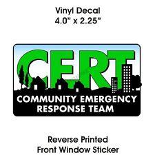 § CERT Window CLING Decal Community Emergency Response Team Car Truck Logo  V 31