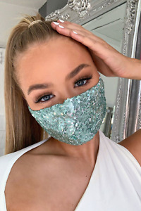 Mint Green Sequin Face Mask Shopping, Party, Wedding