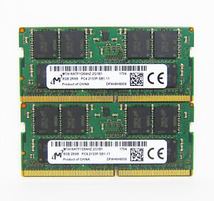 Lot 2 Micron 8GB 2x8GB 16GB DDR4 Laptop RAM PC4-2133P MTA16ATF1G64HZ