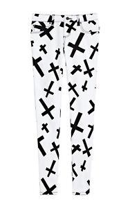 TRIPP EMO GOTH PUNK ROCKER WHITE/BLACK CROSSES JEAN PANTS SKINNY METAL IS6235P