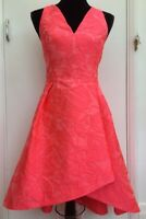 Coast 'Fit N Flare' Floral Coral Pink Dipped Hem Prom Wedding Occasion Dress 12