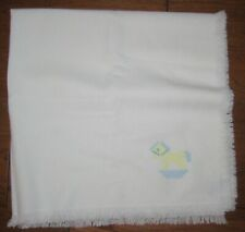 New listing Churchill Weavers Handwoven Baby Blanket with Embroidered Rocking Horse