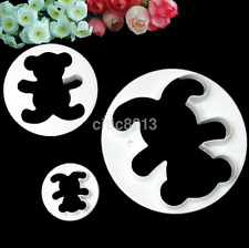 3Pcs Teddy Bear Biscuit Cookie Fondant Cake Icing Cutter Mold Decor Set AU