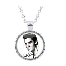 Fashion Vintage Elvis Presley Pendant Necklace The King of Rock Art Jewelry Gift Silver