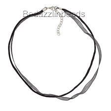 Wholesale Lot 10 Ribbon & Cord Necklaces w/ Silver Steel Extender Chain & Clasp