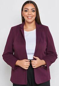 New Ladies Ex Evans Purple Tailored Rib Blazer Jacket Sizes 16 24 26 RRP £42