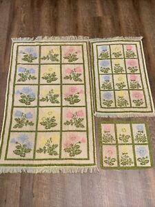 Set 3 Vintage Cannon Royal Family Bath Towels Flowers Yellow Green Blue Great Co