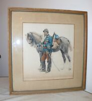 antique 1876 Edouard Detaille military horse engraving original watercolor art