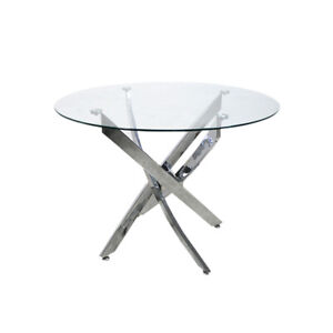 New Clear Chrome Round Glass Dining Table Dining Table Cafe Table 100 cm