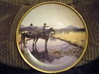 BRADFORD EXCHANGE COLLECTOR PLATE COWBOY SEASONS ON THE OPEN RANGE BULLS
