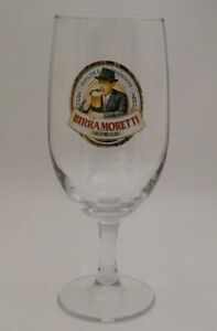 Moretti Beer 70's Vintage Birra Moretti Beer Footed Goblet Glasses from FLA.