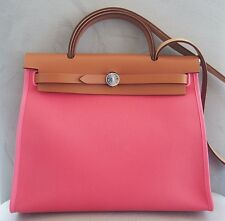 NEW! Authentic HERMES Herbag Zip Canvas Rose Azalee Pink 31cm PM Kelly Lock bag
