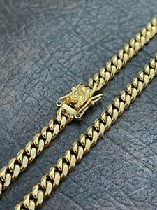 """6mm Mens Cuban Miami Link Chain Box Lock Real 18k Gold Over  Stainless Steel 28"""""""