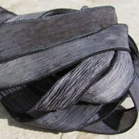 STONE Silk Ribbons Qty 5 Hand Dyed Ribbon Jewelry Stringing Supplies Black Gray