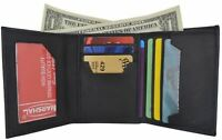 Slim Mens Trifold Grain Leather Wallet Case Credit Card Window ID License Black