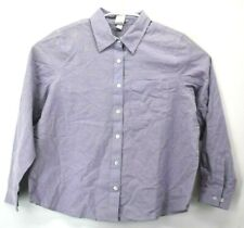 NWT Blair Women's Large Petite Button Front Cotton Long Sleeve Top Chest Pocket