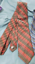 APT. 9  Mens Dark Red Black Striped Neck Tie with Clip