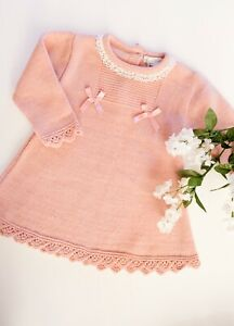Baby Girls Dusky Pink Knitted Dress - Traditional Spanish Style - Blues Baby