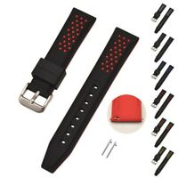 Silicone Rubber Watch Strap Band Replacement Wristband + Spring Bars 20mm-26mm